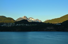 Morning in Sunnylvsfjorden (Eddie Crutchley) Tags: cruise2017norwayicelandireland europe norway fjord outdoor mountain blueskies sunlight sunnylvsfjorden coast nature beauty village simplysuperb greatphotographers