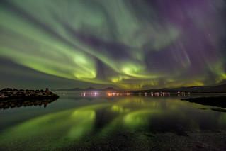 aurora over flat water