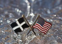 Pin Badge (Helen Orozco) Tags: macromondays souvenir hmm macro pinbadge flags stpiran thestarsandstripes americanflag bokeh canonrebelsl1 cornwall usa badge lapelbadge