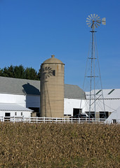 two from one (WORLDS APART PHOTO) Tags: windmills windmillwednesday wisconsin waunakee madison farming farm agriculture crop sky outdoors silo fall tall