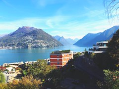 Lake Lugano and Monte Bre, Ticino, Switzerland (www.kevinoakhill.com) Tags: montebre bre monte traveller global world region southern south europe national travel tourist professional photography photos photo 8 iphone iphone8 colours leaves autumn park hotel views view paradise perfect white cloud skies sky blue montagne alpe alps mountain mountains stunning fantastic wonderful amazing beautiful lugano lakes italian italia italy switzerland ticino lake
