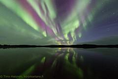 Northern lights over Lake Menesjärvi (Hotel Korpikartano) Tags: