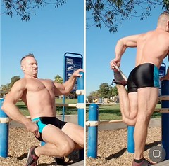sissy squats (ddman_70) Tags: shirtless shortshorts pecs abs muscle sissysquats outdoor workout