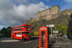 Seeing red in Edinburgh (mgstanton) Tags: city scotland travel vacation edinburgh red bus telephone telephonebox telephonebooth castle edinburghcastle doubledecker