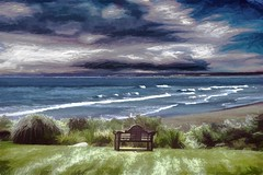 Looking Out to Sea - Waves and Clouds (Rusty Russ) Tags: beach waves cloud view sea bench plum island colorful day digital graffiti window flickr country bright happy colour eos scenic america world sunset water sky red nature blue white tree green art light sun park landscape summer city yellow people old new photoshop google bing yahoo stumbleupon getty national geographic creative composite manipulation hue pinterest blog twitter comons wiki pixel artistic topaz filter on1 image