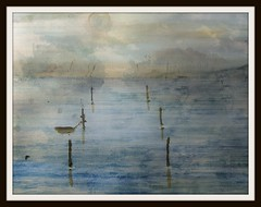 Fantasy (patrick.verstappen) Tags: textured texture watercolor art painting photo picassa pinterest pat paper a4 acryl schut mer lake misty water fantasy mountains sun ipiccy imagine inspiration inkt inspirational yahoo gingelom google flickr facebook fabriano