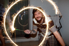 Sparkler Swirl (David K. Werk) Tags: sparkler sparkle spark firework fire swirl spin twirl man fun night dark smile happy amusing