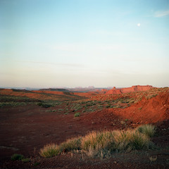 (patrickjoust) Tags: tlr twin lens reflex 120 6x6 medium format c41 color negative film manual focus analog mechanical patrick joust patrickjoust navajo nation southwest usa us united states north america estados unidos rural country high desert rock sunrise moon monument valley utah arizona az ut red early morning