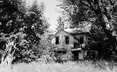 love's labor lost...(last love house) (BillsExplorations) Tags: abandoned abandonedillinois abandonedhouse abandonedfarm decay ruraldecay rural loss love old forgotten discarded ruins oncewashome farm labor trees field blackandwhite monochrome