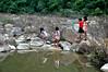 River adventure (Roving I) Tags: rocks boulders rivers pools reflections girls children playing fun jungle hoabac hoavang exploring danang vietnam