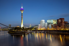 Dusseldorf / Germany 2017 (zilverbat.) Tags: germany deutschland zilverbat longexposurebynight longexposure bluehour bild waterfront wallpaper urban duitsland tripadvisor travel timelife town tourism tourist tour map nightshot nightlights nightphotography photographybynight night world water skyline tower zendmast radiotoren stadt altstadt boulevard haven medienhafen hafen old zollhof rheinturm architecture modern new europe reflections düsseldorf cityscape rhine rijn harbor