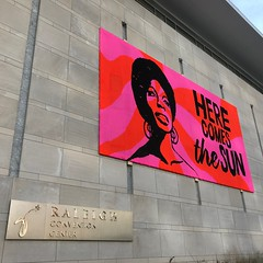 Nina Simone, crochet mural at the Raleigh Convention Center (crochetbug13) Tags: crochet crochetbug olek loveacrosstheusa raleighconventioncenter raleigh northcarolina ninasimone yarnbomb yarnbombing crocheted crocheting redheartyarn redheartsupersaver pink orange
