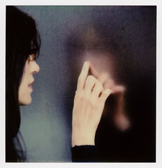 Reflecting Heather (tobysx70) Tags: the impossible project polaroid slr680 frankenroid sx70 door rollers color film for 600 type cameras beta 30 3 0217 pioneer member test impossaroid roidweek roid week polaroidweek fall autumn october 2017 reflecting heather walt disney concert hall south grand avenue dtla downtown los angeles la california ca portrait woman profile hand reflection bokeh stainless steel frank gehry architect dtlapolawalk polawalk 061017 day1 toby hancock photography