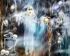 spooky scary night (HocusFocusClick) Tags: spooky scary horror night hauntedhouse evil ghosts skeletons scalps tombstone creepy halloween bats moon moonlight fog foggy