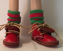 Christmas 2017 Series...Short Red and Green Striped Socks...For Blythe...