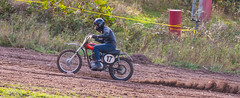 Uphill Triumph (John Kocijanski) Tags: red vintage classic antique motorcycle triumph vehicle dirtbike hillclimb race sport canon70300mmllens canon7d people racer rider