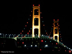 The Mighty Mackinac Bridge (JamesEyeViewPhotography) Tags: michigan mackinac bridge night lights water greatlakes lakemichigan lake huron sky autumn fall colors northernmichigan jameseyeviewphotography