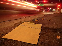Magic Word (RZ68) Tags: cardboard sign please handwritten you able handout give street available light intersection city stop go ground level wide lg lgg6 longexposure