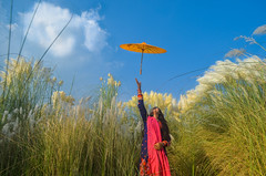 Keep moving...sky is your limit! (ashik mahmud 1847) Tags: blue bangladesh girl woman people human umbrella color grass flower autumn