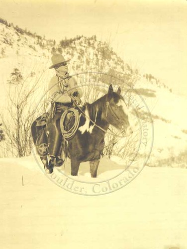 Photo - Ranger Martin Parsons and his horse Spider near Gregory Canyon (1928).