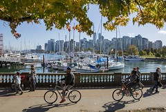 Sunday Ride (Clayton Perry Photoworks) Tags: vancouver bc canada explorebc explorecanada fall autumn city stanleypark people skyline seawall bike bicycle leaves trees coalharbour