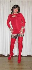 skin tight red minidress (Barb78ara) Tags: minidress microdress reddress littlereddress lrd littledress nylon nylonpantyhose pantyhose patternedpantyhose boots stilettoheels stilettohighheels stilettoboots otkboots thighhighboots redboots
