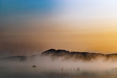 Sunrise Fog Paddler (matthewkaz) Tags: kayak kayaker sunrise fog lake limelake water sky boat weeds cedar maplecity leelanau michigan puremichigan summer 2017