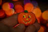 "Monday Macro ""Halloween"" (Aliparis) Tags: macro monday halloween button buttoncover jackolantern bokeh orange lights 2017 fingers hands pumpkin purple"