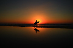 Surfer at sunset - Tel-Aviv beach (Lior. L) Tags: surferatsunsettelavivbeach surfer sunset telaviv beach sea reflection silhouette