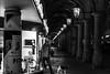 the night is your friend / Repeat and impress (Özgür Gürgey) Tags: 2017 50mm bw colonnaden d750 darkcity hamburg nikon architecture evening lowlight repetition street