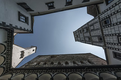 castle view (Thomas Sobottka) Tags: castle palace up view sky blue white old historic history walls facade plaster medieval burg österreich austria wachau wideangle