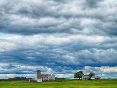 Northumberland Farm (duaneschermerhorn) Tags: farm silo field hdr clouds blue green barn crops horizon