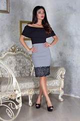 Платье шикарное облегающее изысканое с открытыми плечами с кружевом серый (arrkareeta) Tags: