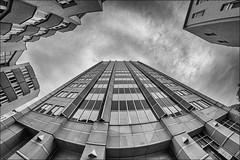 Halle Tower (p h o t o . w o r l d s) Tags: halletower hallesaale sachsenanhalt architektur architecture hdr 7artisans75mm28 fisheye fischauge fujixt10 photoworlds monochrom blackandwhite blackwhite sw mono