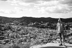 Other Side of the Mountain (vaseHAUS) Tags: black white bw self portrait sky barcelona spain bunker view vista cloud clouds cityscape city stone architecture tranquility peace