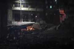 Ghat at night time (Michael Olea) Tags: 2015 travel asia india varanasi manikarnikaghat ghat