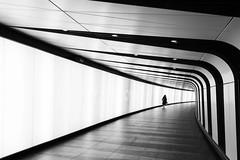 Betwixt and between (marktmcn) Tags: passage way passageway subway underpass kings cross london underground corridor curve twist through person alone lone figure blackandwhite monochrome dsc rx100