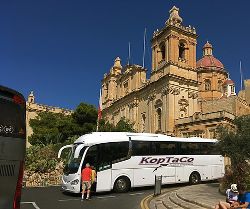 DPY630 of KopTaCo Coaches at St Lawrence's Church, Birgu, Malta