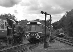 Former Leicester Station Pilot 41268 (41312 in disguise) on a recently arrived service from Ongar, is passed by the Class 117 DMU arriving from Epping Forest. D6729 is stabled behind on the right. 08 10 2017 (pnb511) Tags: northwealdstation eppingongarrailway trains heritage railway engine diesels class37 class117 train loco locomotive smoke steam dmu watercrane