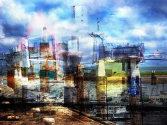 een veilige haven (roberke) Tags: photomontage photoshop creation creative creatief fantasy layers lagen textures textuur schip schepen water sky lucht