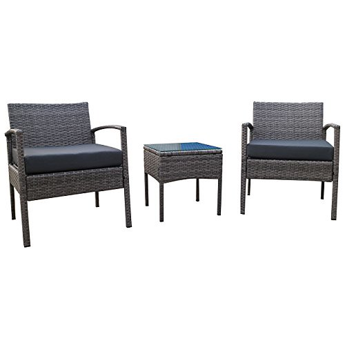 Belleze 3-PCS Patio Outdoor Rattan Furniture Set Cushioned Garden Wicker Rattan with Cushion, Gray Review