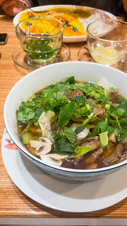 Pho soup with vegan beef