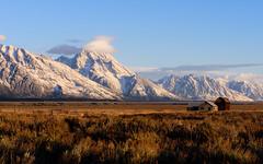Early morning at Mormon Row, Grand Teton N.P. Wyoming. (Breck Miller) Tags: wyoming grandteton mountains barn abandoned snow landscape nationalparks