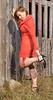 Marie-Josée front the old barn (Fotorebel.ca) Tags: exterieur mariejoséedionne pontrouge femme girl orange orangedress portrait shooting soulieràtalon talonhaut woman blackheel highheel