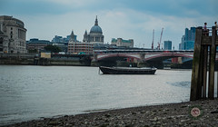 Chilling on the Pier and chilling on the barge.. (Davos Pessos) Tags: london londonmetropolis towerbridge tourist toweroflondon lady sky streetphotography dolphinsculpture backpacker riverthames riverferry blackfriars stpaulscathedral riverbarge boat eveningcommute