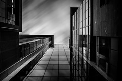 Pavillon EV [bw] (s.W.s.) Tags: sky city reflection urban architecture abstract glass longexposure montreal quebec up neutraldensity nikon d3300 canada lightroom blackandwhite bw