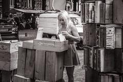 postcards (Gerard Koopen) Tags: nederland netherlands denhaag thehague candid straat street straatfotografie streetphotography bw blackandwhite blackandwhiteonly postcards woman bookmarket nikon d810 2017 gerardkoopen