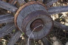 Weathered Wagon Wheel (Let Ideas Compete) Tags: wheel hub spokes wagonwheel weatheredwood rust rusty old cracked axel axle texture