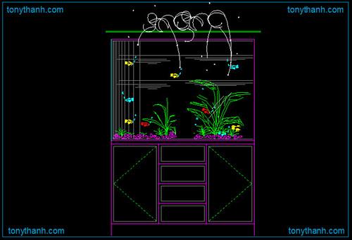 Aquarium water tank cad block dwg, fish water tank autocad drawing