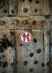 disturbing signs (M Lamprinos) Tags: greece sign signs door wooden westernmacedonia old rusty